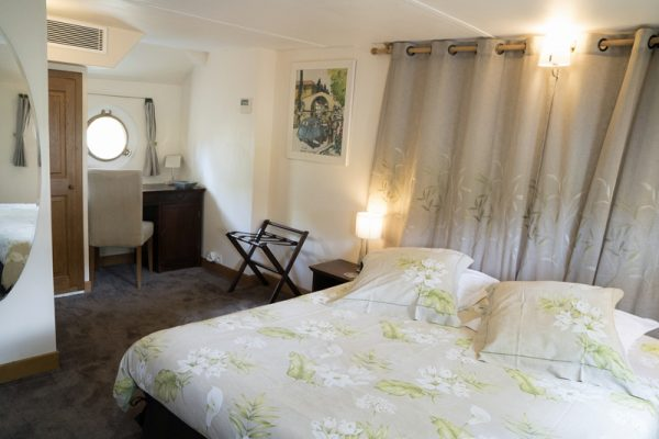 Double cabin aboard Luxury hotel barge, Enchante