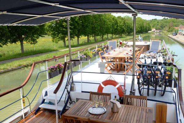 Sundeck aboard luxury hotel barge, La Belle Epoque