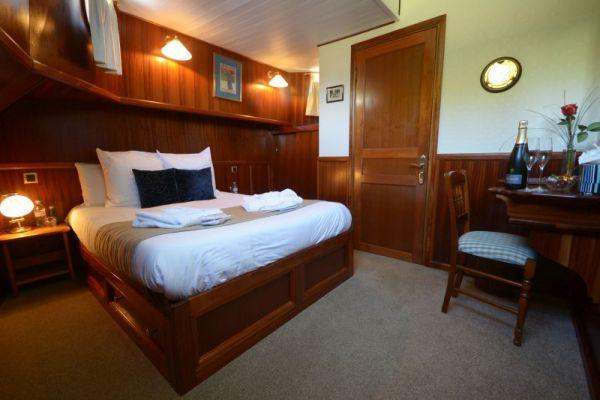 Cabin aboard luxury hotel barge, La Belle Epoque