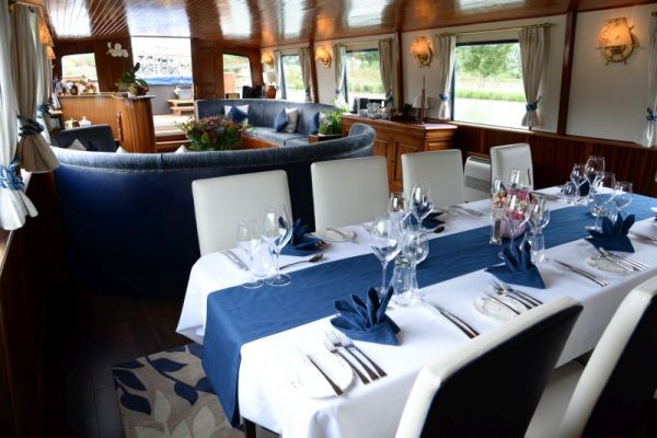 Dining room and saloon aboard La Belle Epoque