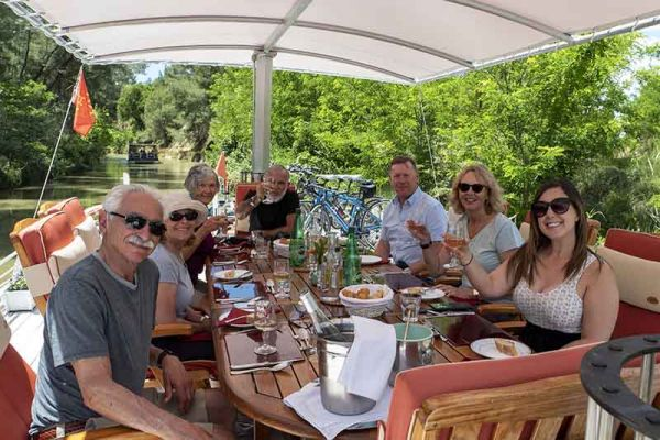Friends for life aboard luxury hotel barge, Athos