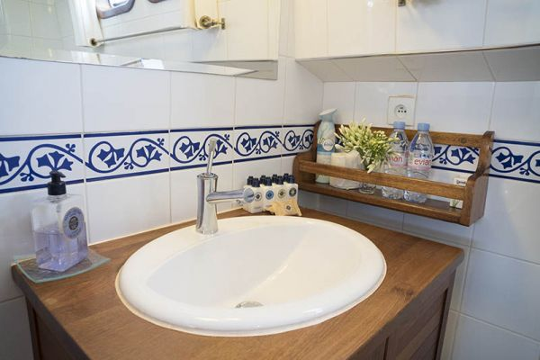 Spacious sink area aboard luxury hotel barge, Athos