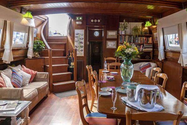 Spacious saloon on luxury hotel barge, Athos