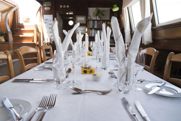 Fine dining aboard luxury hotel barge, Athos
