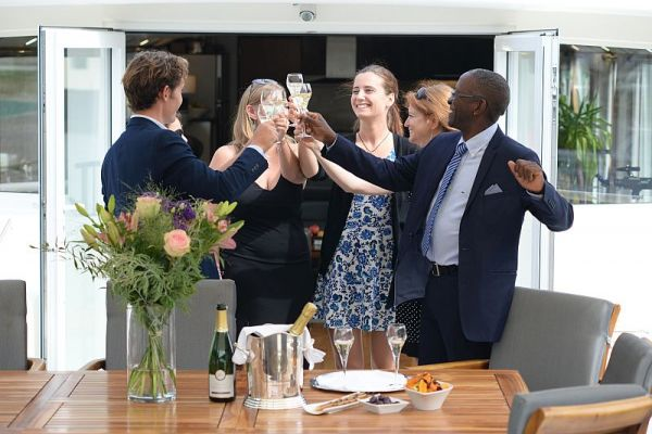 Guests having fun aboard luxury hotel barge, Finesse