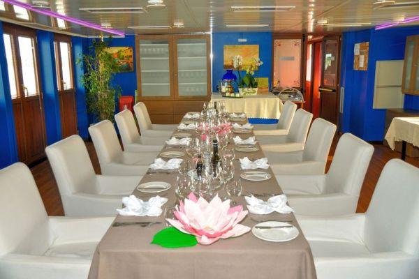 Dining area aboard La Bella Vita