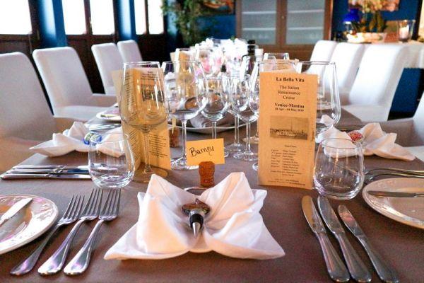 The dining area aboard La Bella Vita
