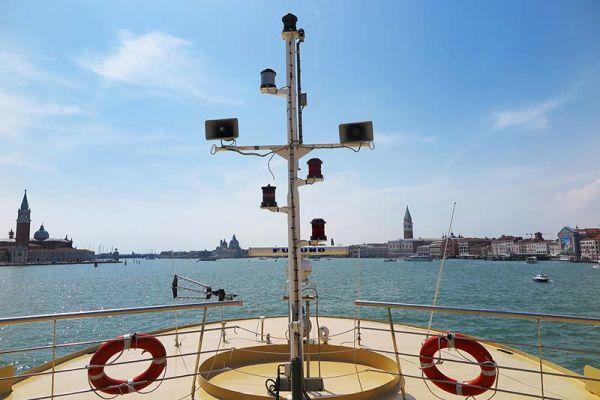 Luxury hotel barge, La Bella Vita sailing out of Venice