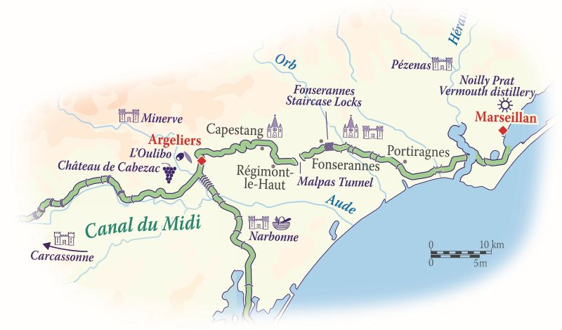 Map of the Canal du Midi