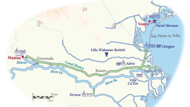 Map of the River Po and Venice Waterways