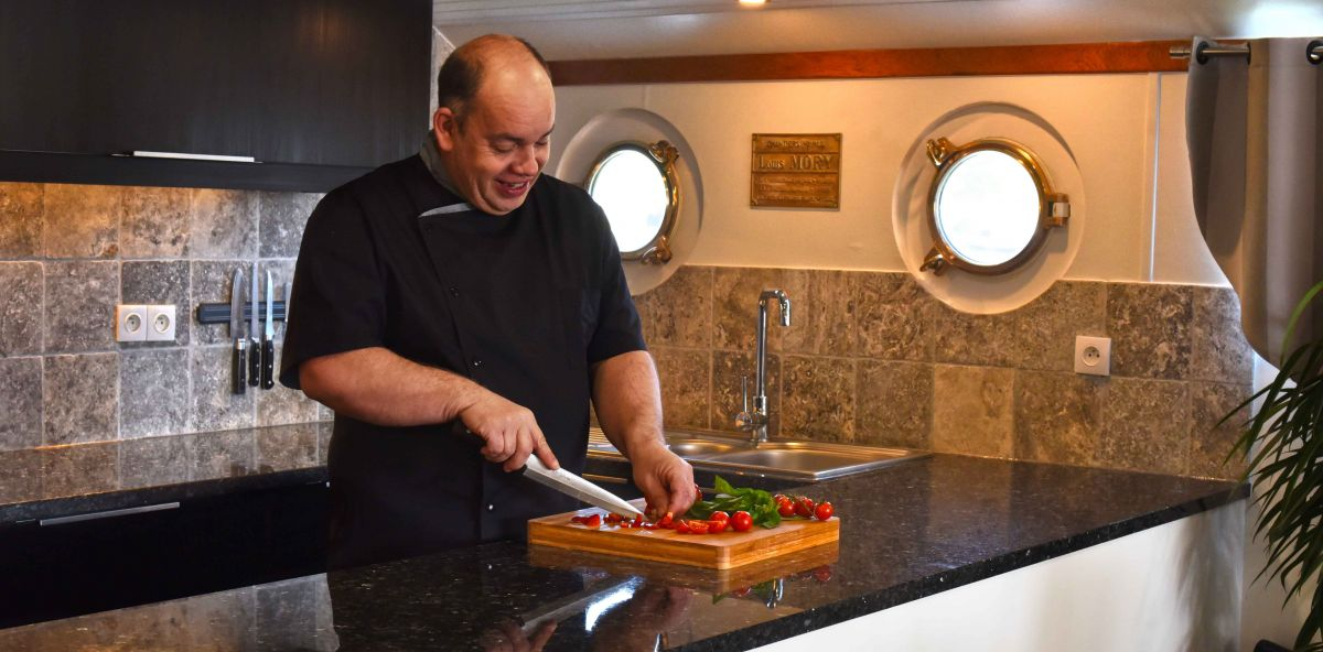 Luxury hotel barge chef Mike Crowson aboard Finesse Luxury Barge Cruise in France