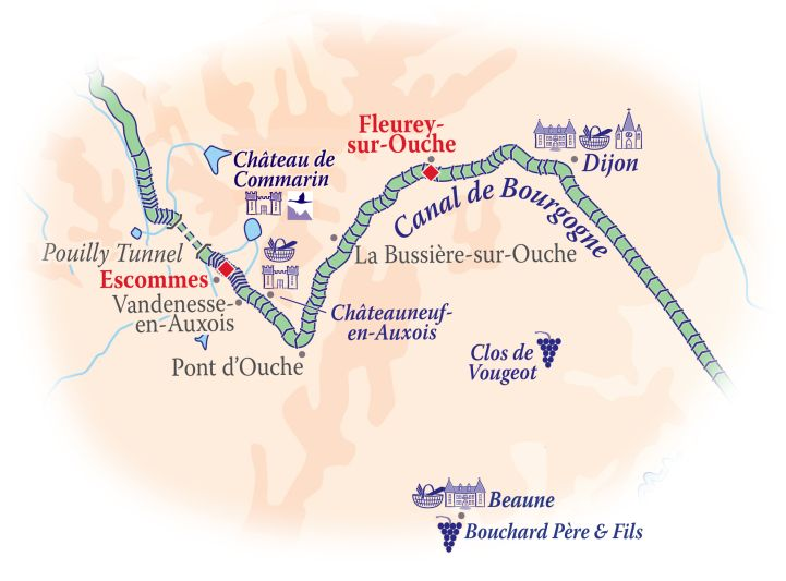 Mapf of the Burgundy Canal - Canal de Bourgogne