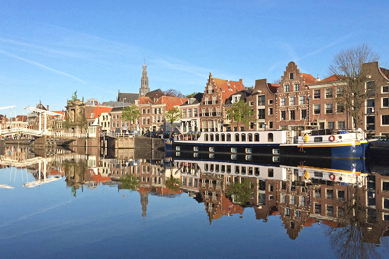 Luxury hotel barge Panache in Holland during the Spring