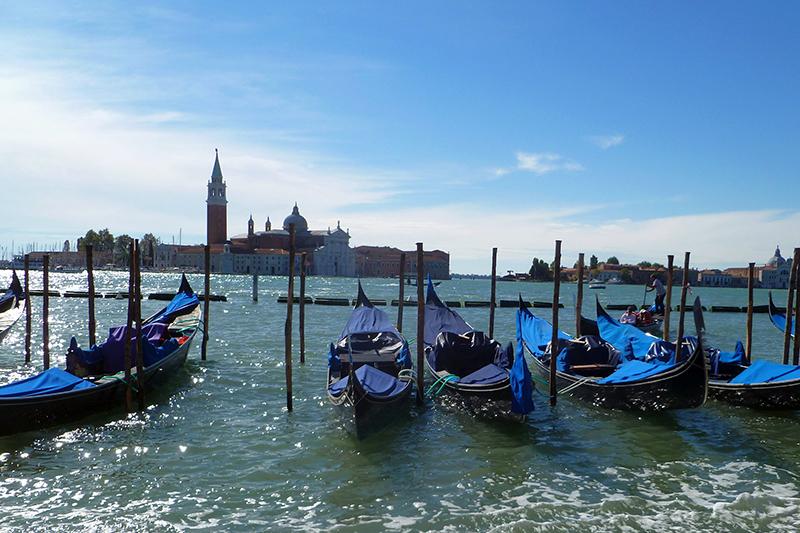 Gondolas in Venice in the Spring