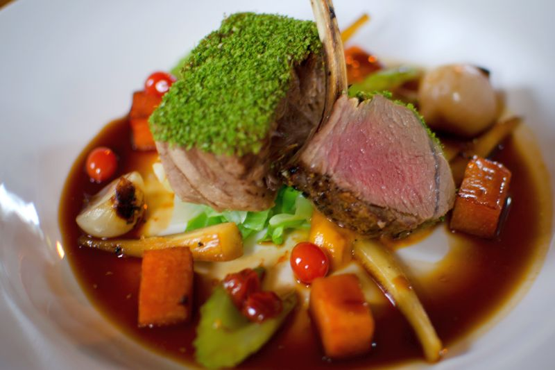 Delicious lamb dish served aboard our luxury hotel barges
