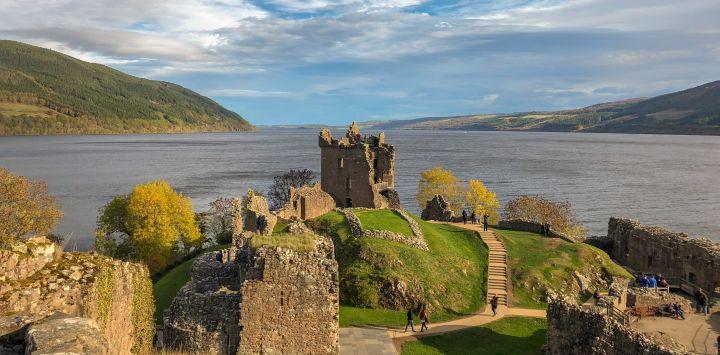 Urquhart Castle looks onto Loch Ness