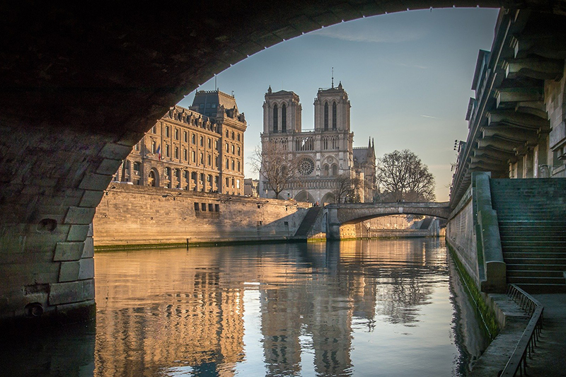 A view over Notre-Dame de Paris from the banks of the River Seine. Reims is a UNESCO World Heritage Site.