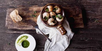 Escargots a la Bourgignon, or Burgundy snails in a garlic herb sauce is a local delicacy to Burgundy