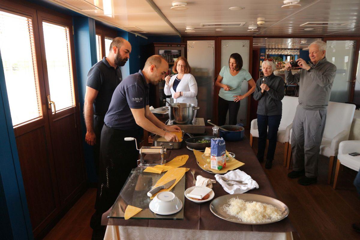 Cooking lessons aboard La Bella Vita luxury hotel barge cruise in Italy's Venice to Mantua