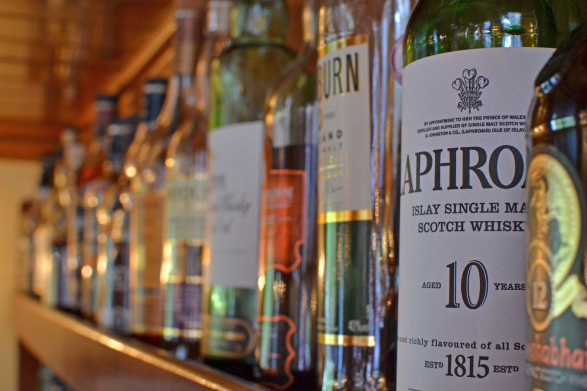A sellection of Scottish Whiskeys and more are available on European Waterways luxury barge cruises' open bars