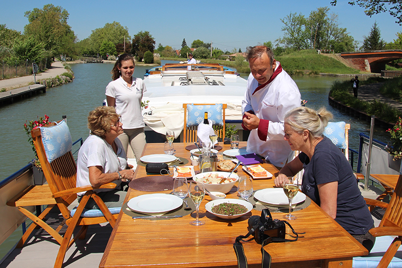 Enjoy a host of fine foods and French wines aboard luxury hotel barge, Rosa as she sails Gascony and Bordeaux