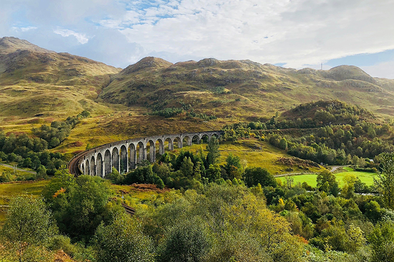 The Glennfinnan Viaduct is the Scottish Highlands has been made even more famous by the Harry Potter series, and can be seen on European Waterways luxury barge cruises