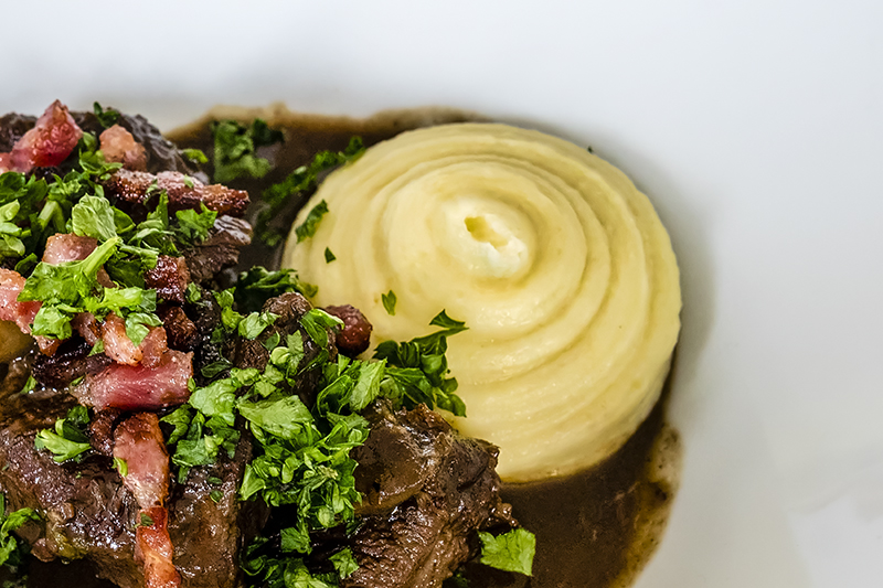 Beef Bourguignon or Boef Bourguignon is a popular dish served aboard luxury hotel barge Finesse in Burgundy