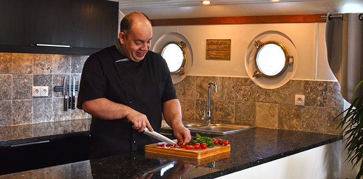 Chef Mike Crowson aboard luxury hotel barge Finesse