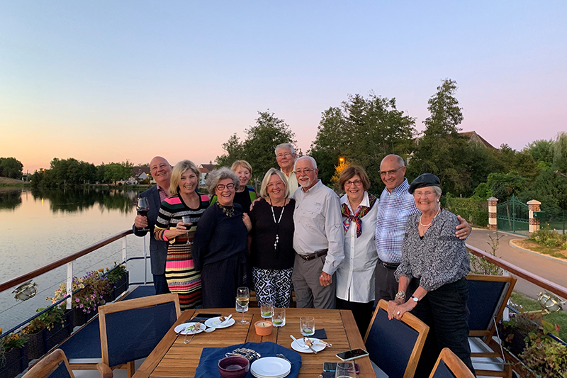 A group of lifelong friends who recently met on the Burgundy Canal aboard luxury hotel barge, La Belle Epoque