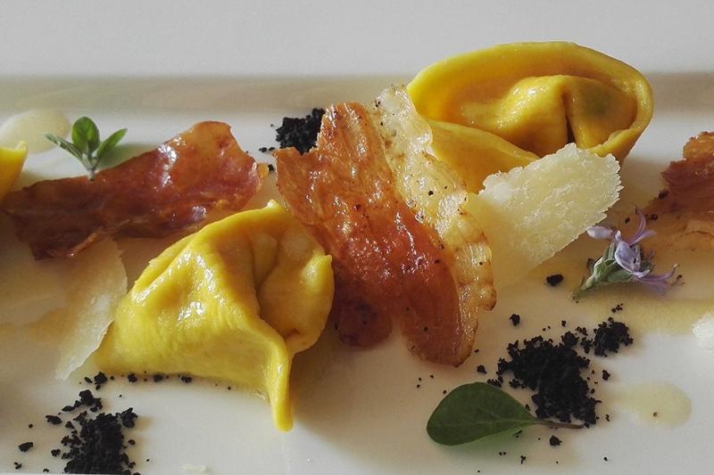 Parma ham ravioli is chef Andrea Chin's speciality dish aboard luxury hotel barge La Bella Vita