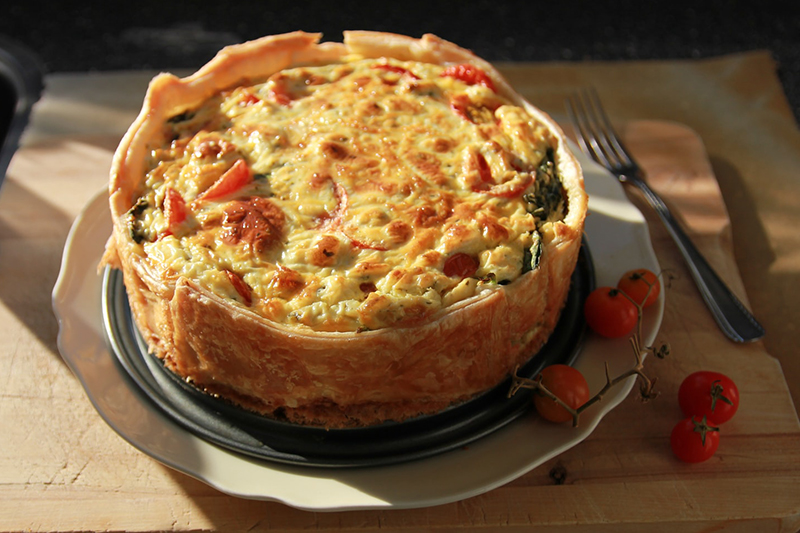 Quiche Lorraine is traditional pastry dish originating from the Lorraine Alsace region