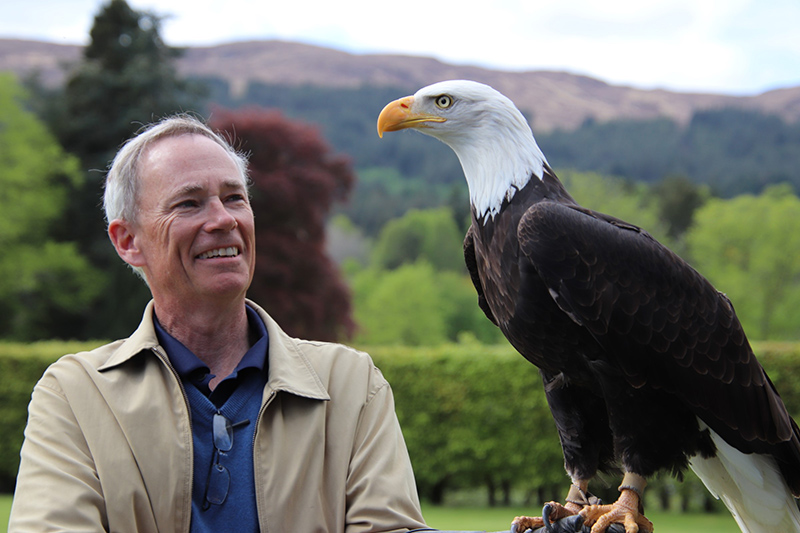 Falconry at the Highlands Club, Scotland, courtesy of Kathy Stodgel