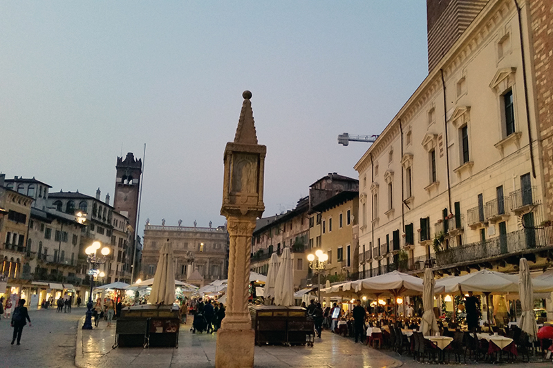 Piazza delle Erbe in Verona can be visited on a cruise aboard La Bella Vita