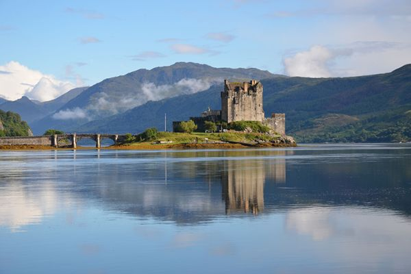 Eilean Donan Castle can be visited aboard the Spirit of Scotland and Scottish Highlander luxury barge cruises
