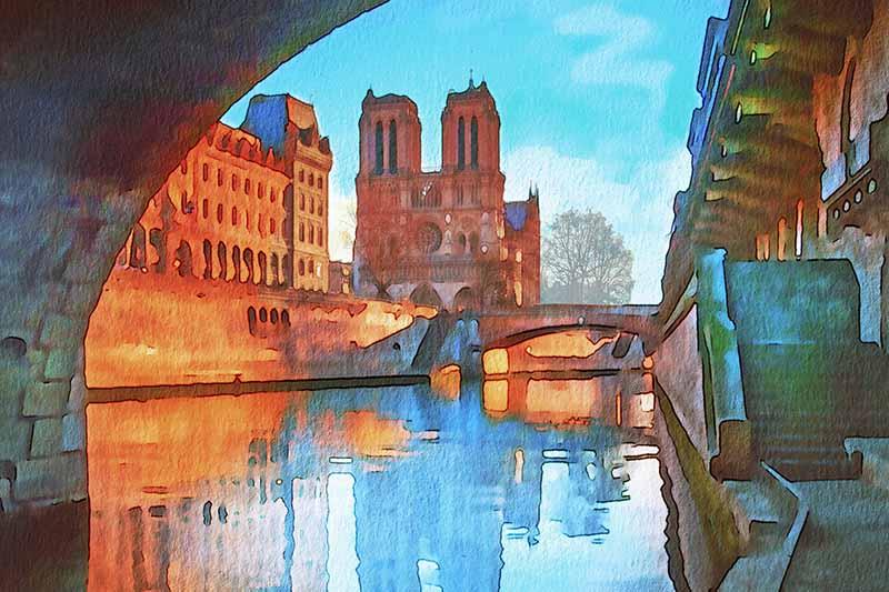 watercolour painting of Notre Dame Paris
