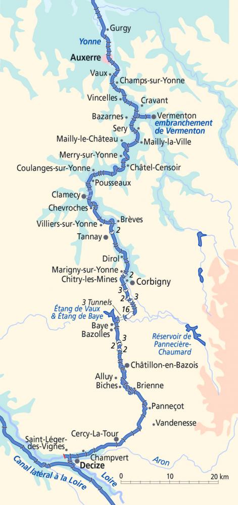 Canal du Nivernais Canal Map