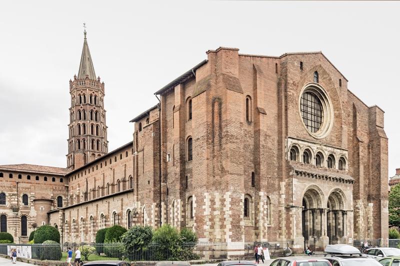 The Basilica of Saint Sernin in Toulouse near the Canal de Garonne
