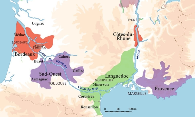 South of France Wine Map