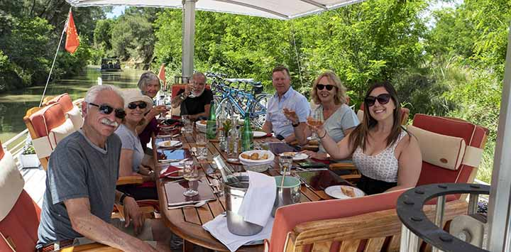 Athos guests on sundeck - European Canal Cruises